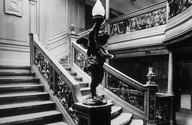 The elegant grand staircase leading to the First Class salon on the . 1912